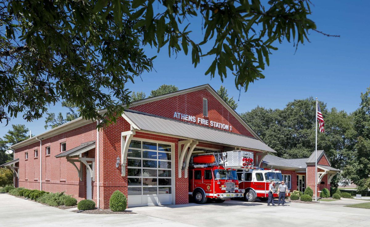 for  CMH Architects  Athens Fire Station #1  950 W Washington St, Athens, AL 35611 (South Facing) Contact:  Fire Chief Thornton (256) 233-8710