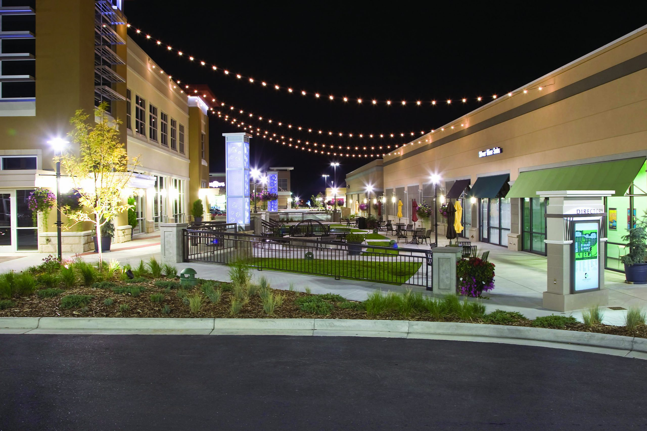 Straight shot of Front Range Village plaza ant night